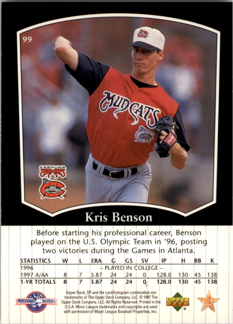 1998 SP Top Prospects #99 Kris Benson back image