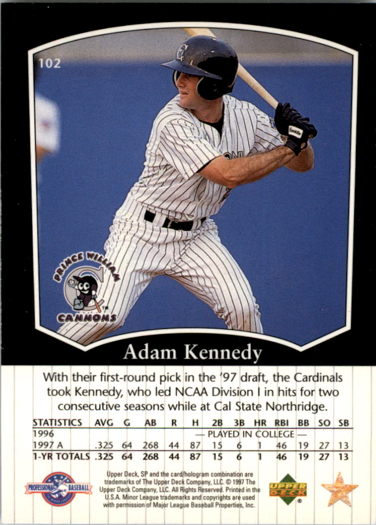 1998 SP Top Prospects #102 Adam Kennedy back image