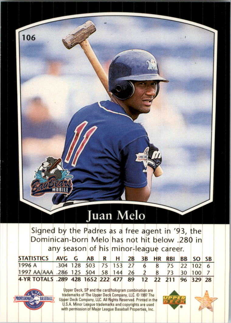 1998 SP Top Prospects #106 Juan Melo back image