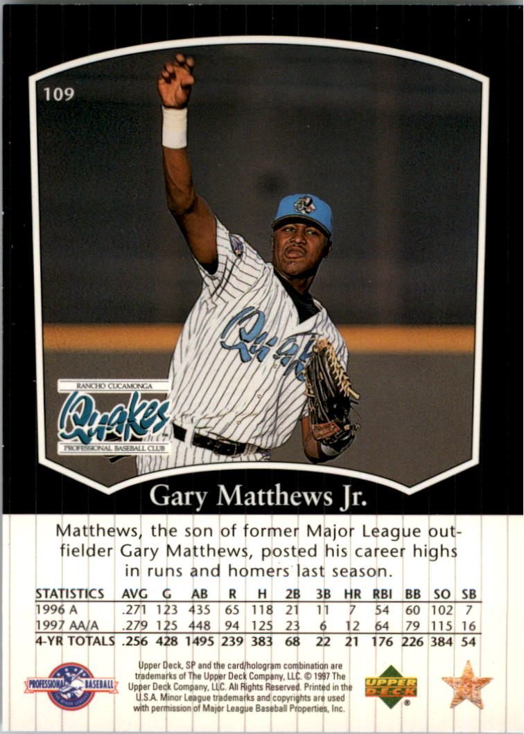 1998 SP Top Prospects #109 Gary Matthews Jr.