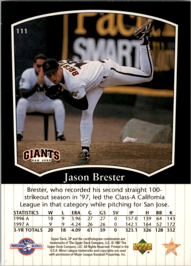 1998 SP Top Prospects #111 Jason Brester back image