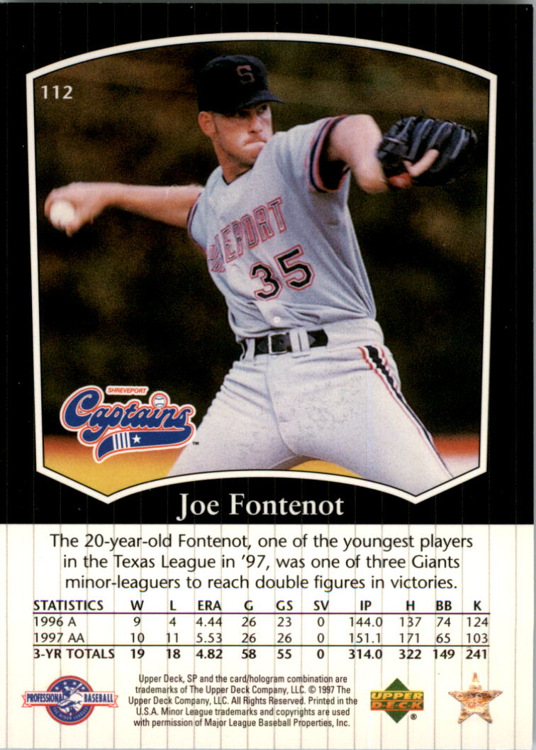 1998 SP Top Prospects #112 Joe Fontenot back image