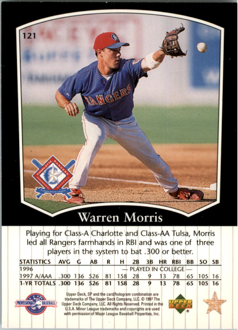 1998 SP Top Prospects #121 Warren Morris back image