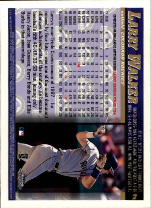 1998 Topps Chrome #2 Larry Walker back image