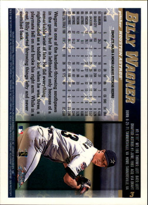 1998 Topps Chrome #3 Billy Wagner back image