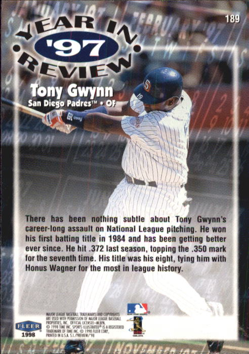 1998 Sports Illustrated #189 Tony Gwynn '97 back image