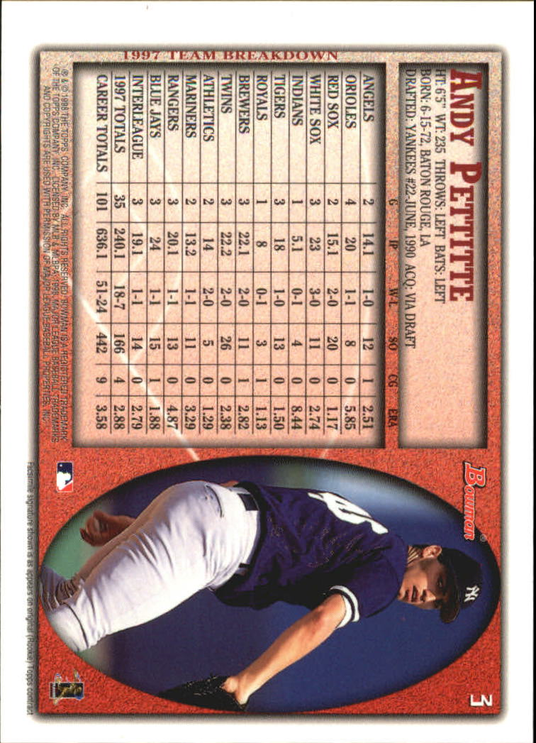 1998 Bowman International #3 Andy Pettitte back image
