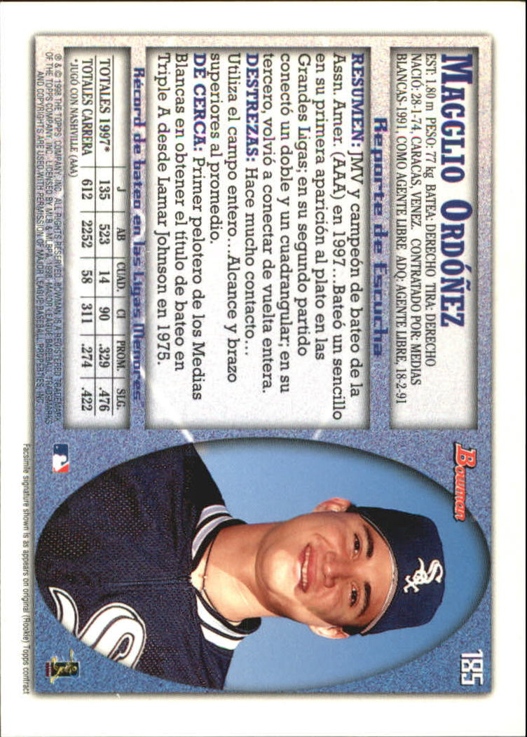 1998 Bowman International #185 Magglio Ordonez UER back image