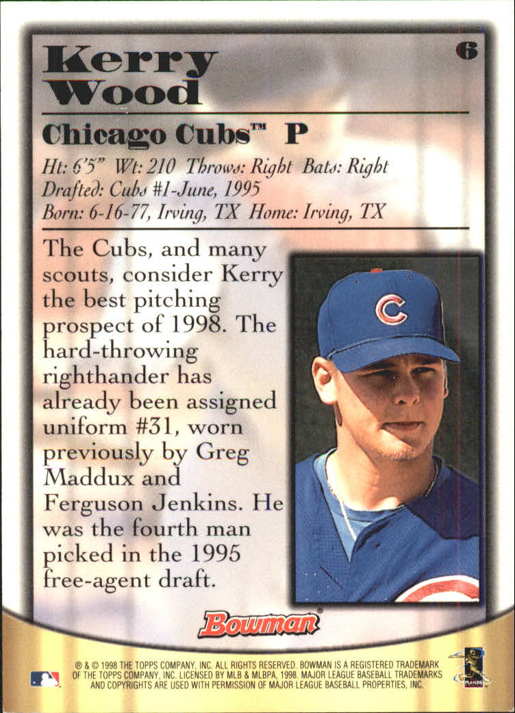 1998 Bowman Certified Blue Autographs #6 Kerry Wood