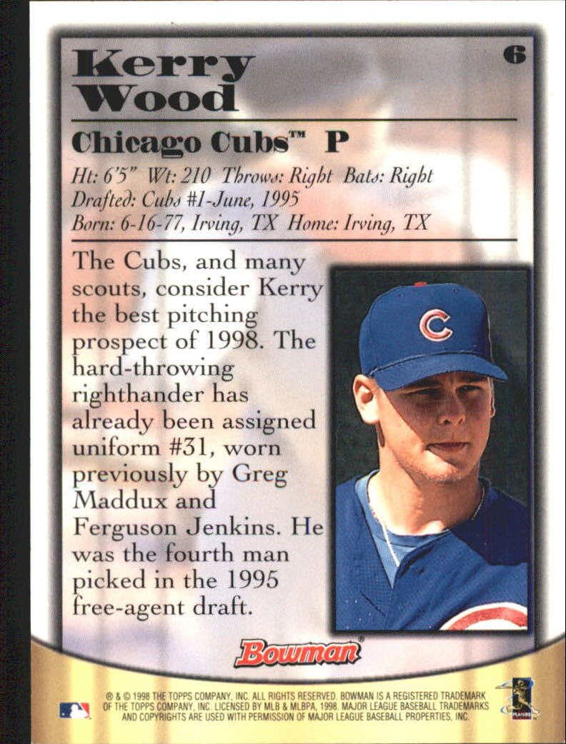 1998 Bowman Certified Silver Autographs #6 Kerry Wood