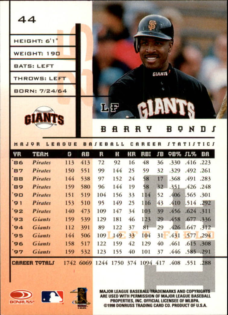 1998 Leaf Rookies and Stars #44 Barry Bonds back image
