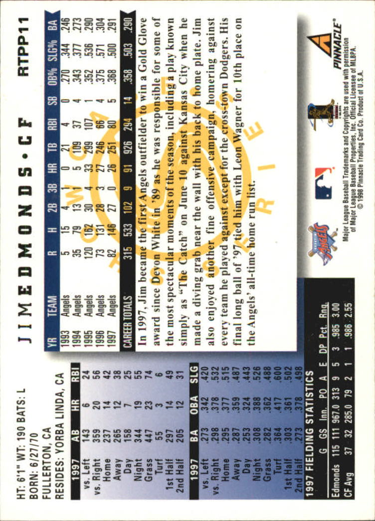 1998 Score Rookie Traded Showcase Series #PP11 Jim Edmonds