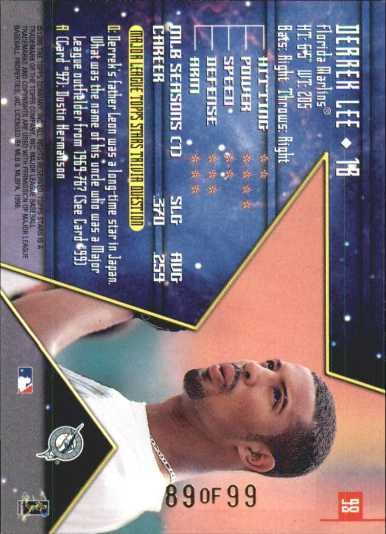 1998 Topps Stars Gold Rainbow #98 Derrek Lee back image