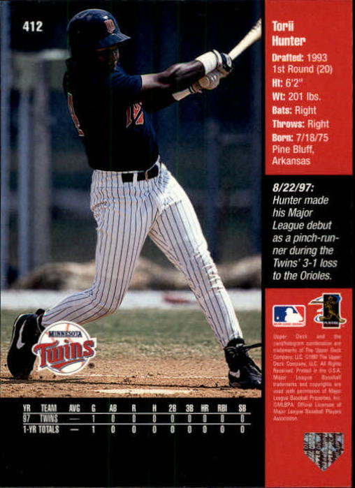 1998 Upper Deck #412 Torii Hunter back image