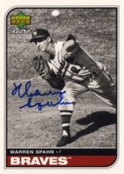 1998 Upper Deck Retro Sign of the Times #WS Warren Spahn/600