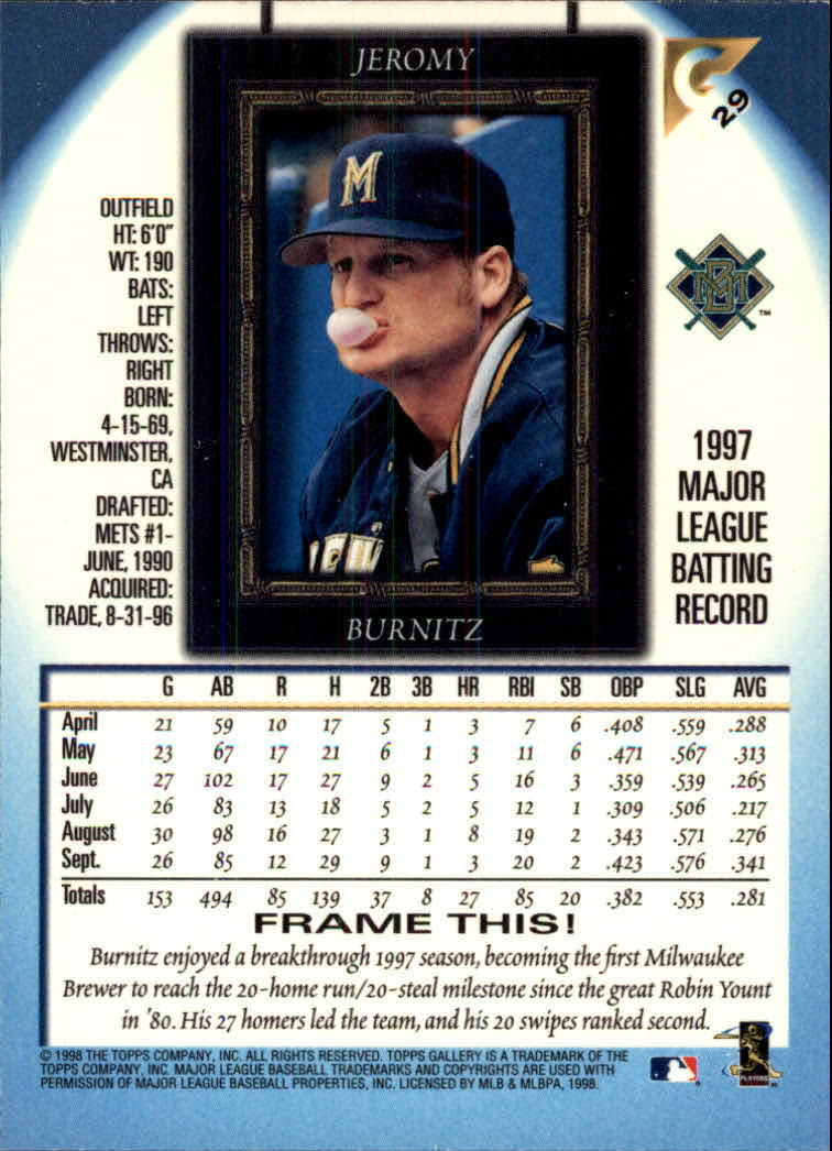 1998-Topps-Gallery-Baseball-Cards-Pick-From-List thumbnail 35