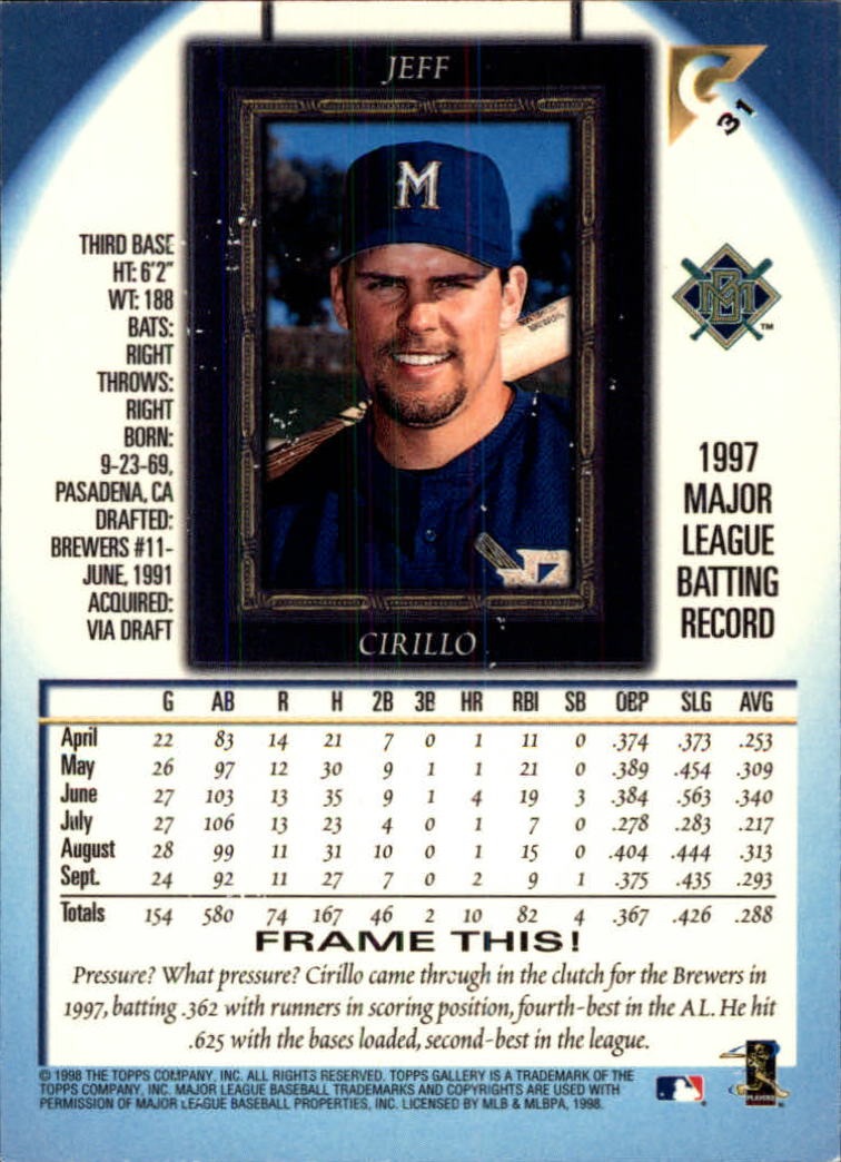 1998-Topps-Gallery-Baseball-Cards-Pick-From-List thumbnail 39