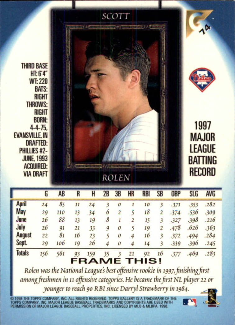 1998-Topps-Gallery-Baseball-Cards-Pick-From-List thumbnail 89