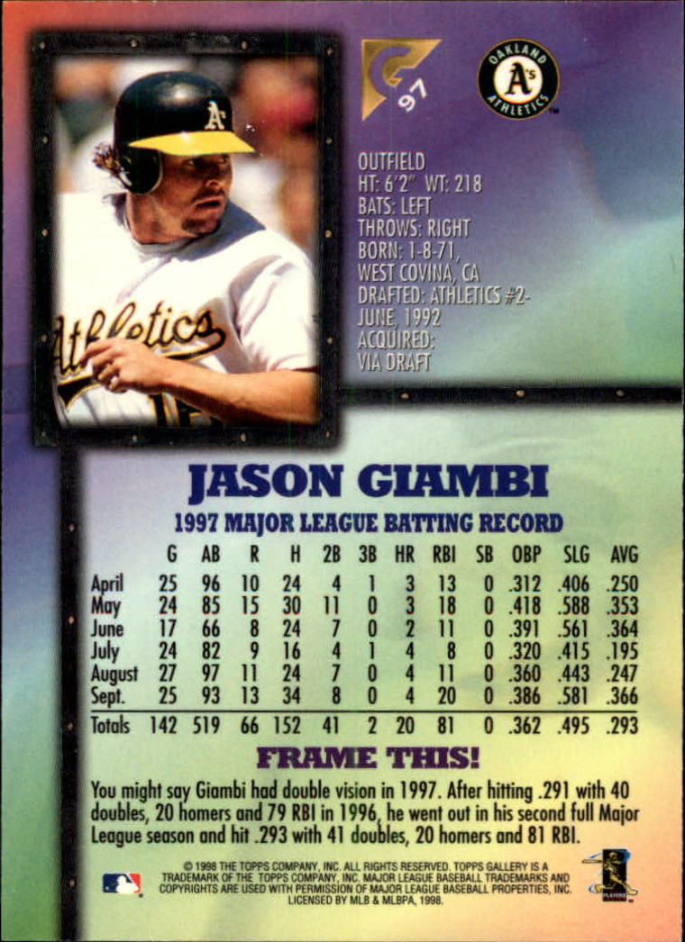 1998-Topps-Gallery-Baseball-Cards-Pick-From-List thumbnail 115