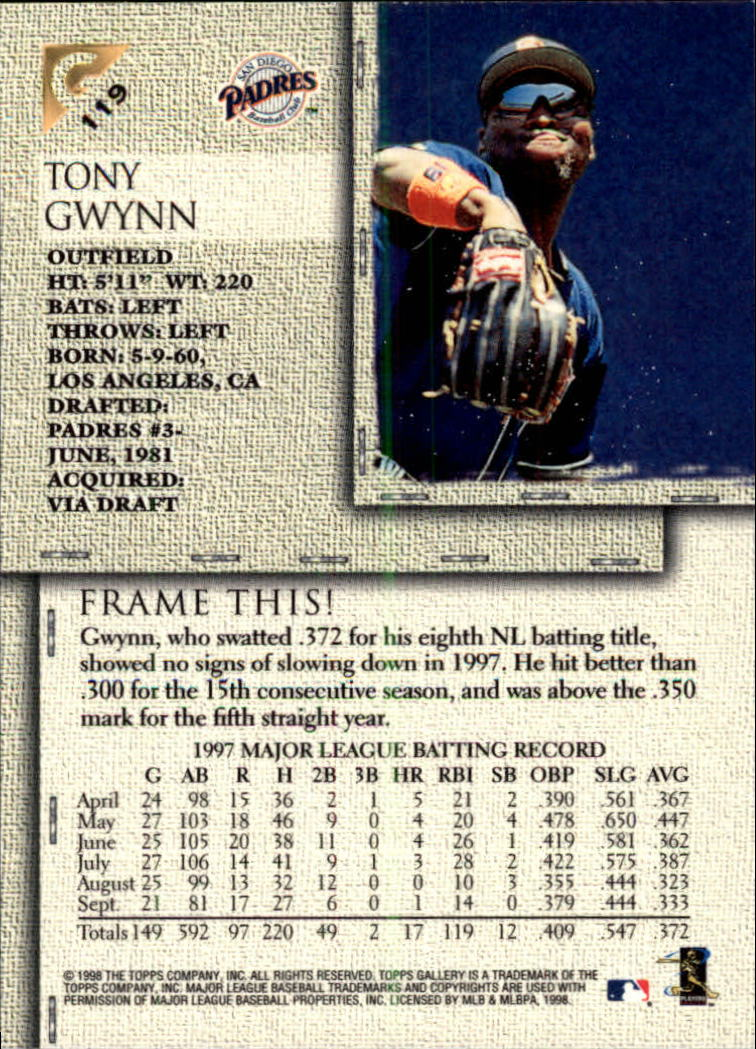 1998-Topps-Gallery-Baseball-Cards-Pick-From-List thumbnail 147
