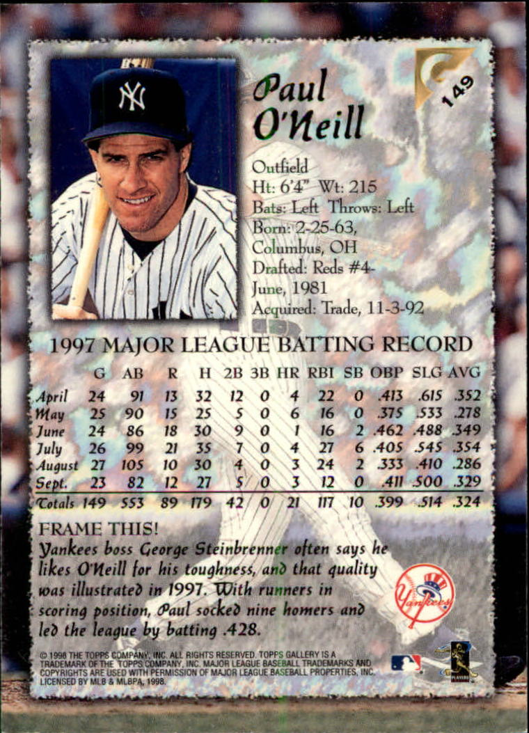 1998-Topps-Gallery-Baseball-Cards-Pick-From-List thumbnail 189