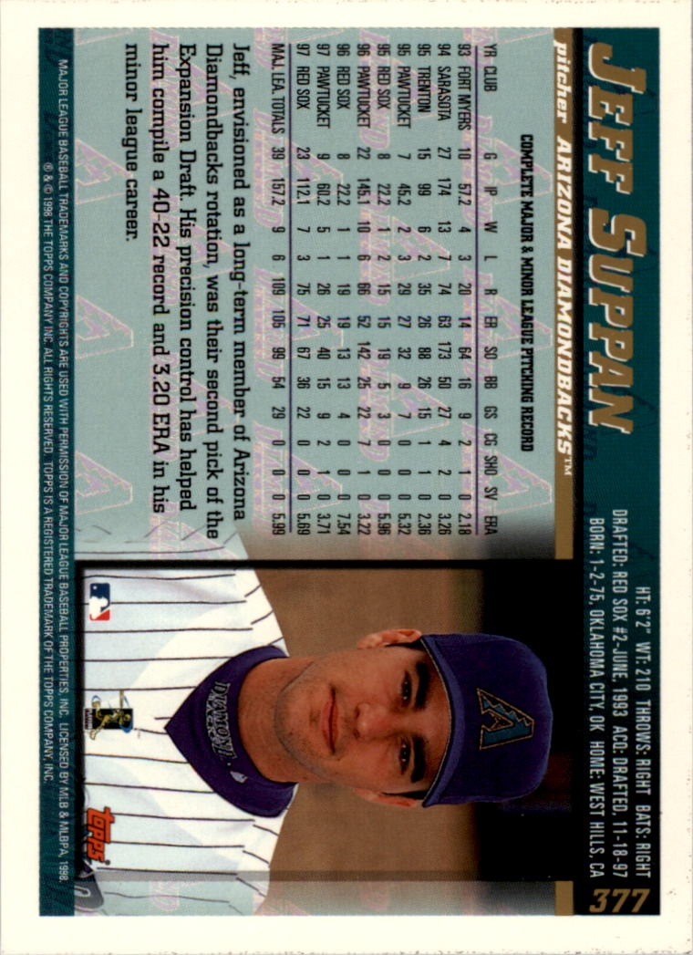 1998 Topps Inaugural Devil Rays #377 Jeff Suppan back image