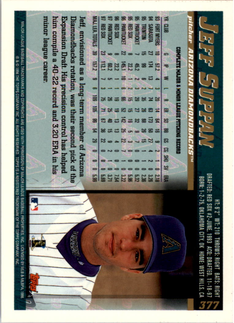 1998 Topps Inaugural Diamondbacks #377 Jeff Suppan back image
