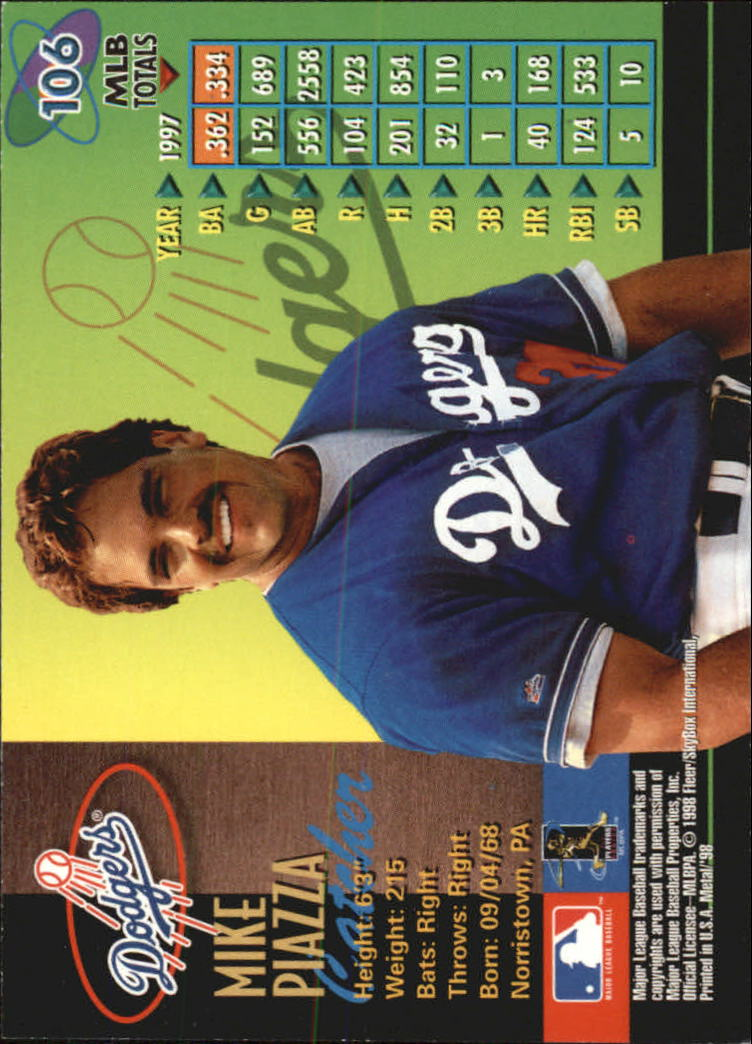 1998 Metal Universe #106 Mike Piazza back image