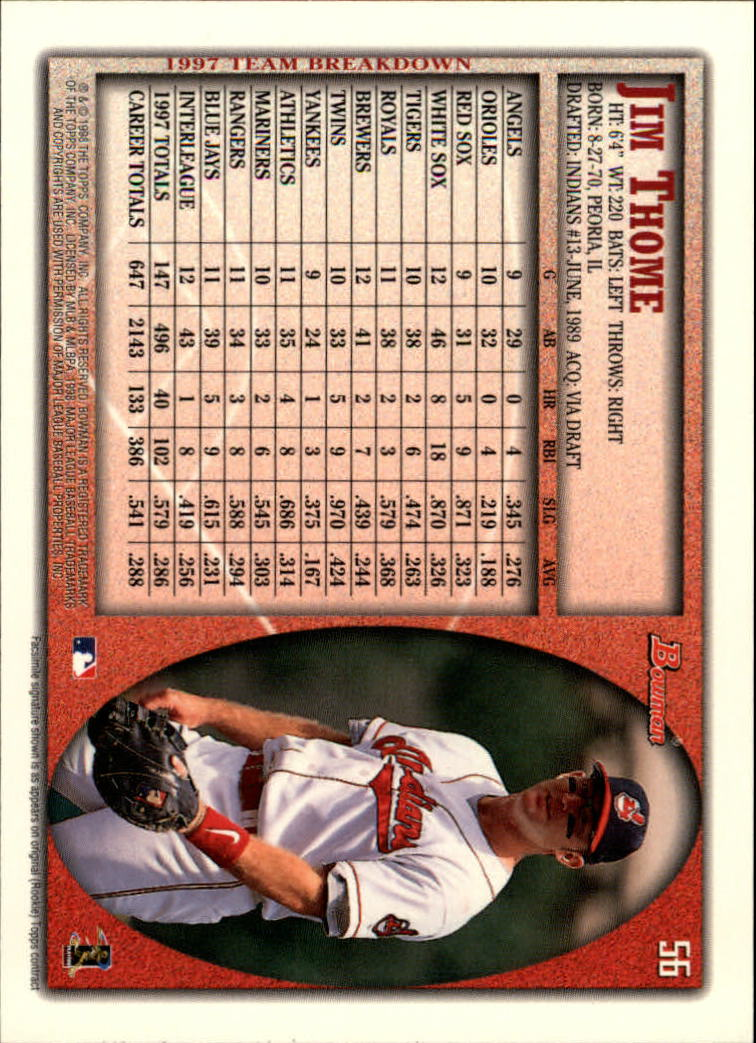 1998 Bowman #56 Jim Thome back image