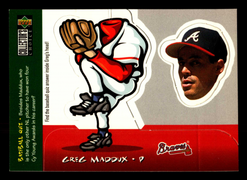 1998 Collector's Choice Mini Bobbing Heads #5 Greg Maddux UER/Card is numbered as 6