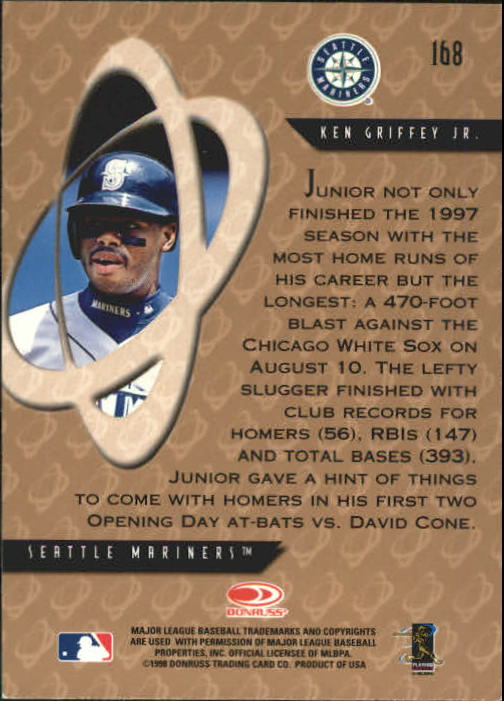 1998 Donruss Preferred #168 Ken Griffey Jr. PP GS back image