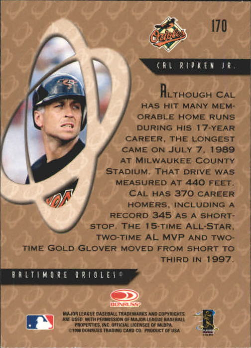 1998 Donruss Preferred #170 Cal Ripken PP GS back image