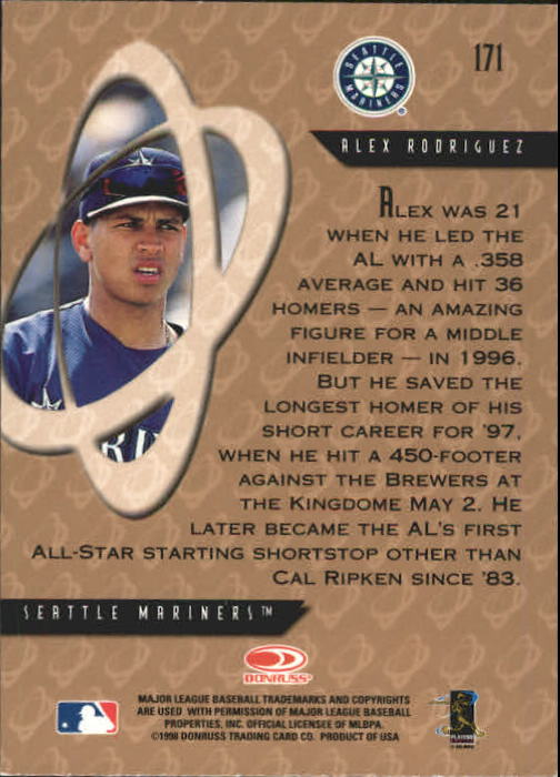 1998 Donruss Preferred #171 Alex Rodriguez PP GS back image