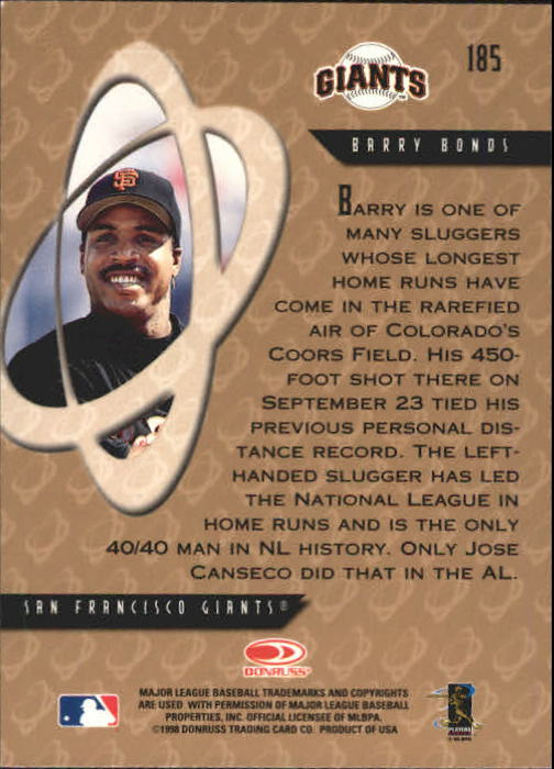 1998 Donruss Preferred #185 Barry Bonds PP GS back image