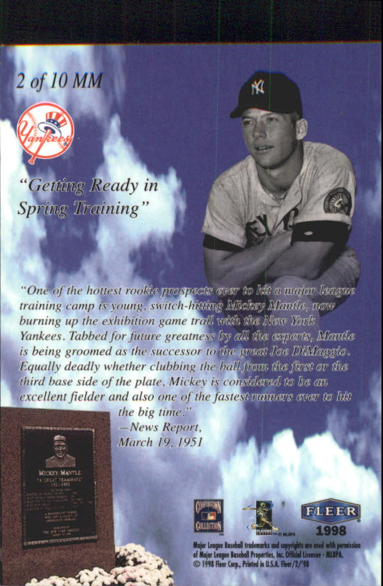 1998 Fleer Tradition Mickey Mantle Monumental Moments #2 Mickey Mantle back image