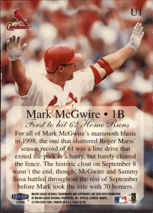 1998 Fleer Tradition Update #U1 Mark McGwire HL back image