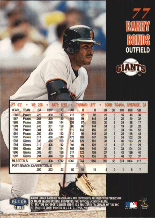 1998 Sports Illustrated World Series Fever #77 Barry Bonds back image