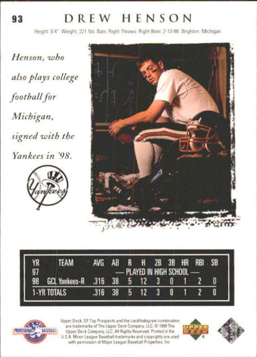 1999 SP Top Prospects #93 Drew Henson back image