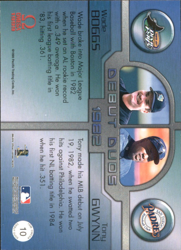 1999 Pacific Omega Debut Duos #10 Wade Boggs/Tony Gwynn back image