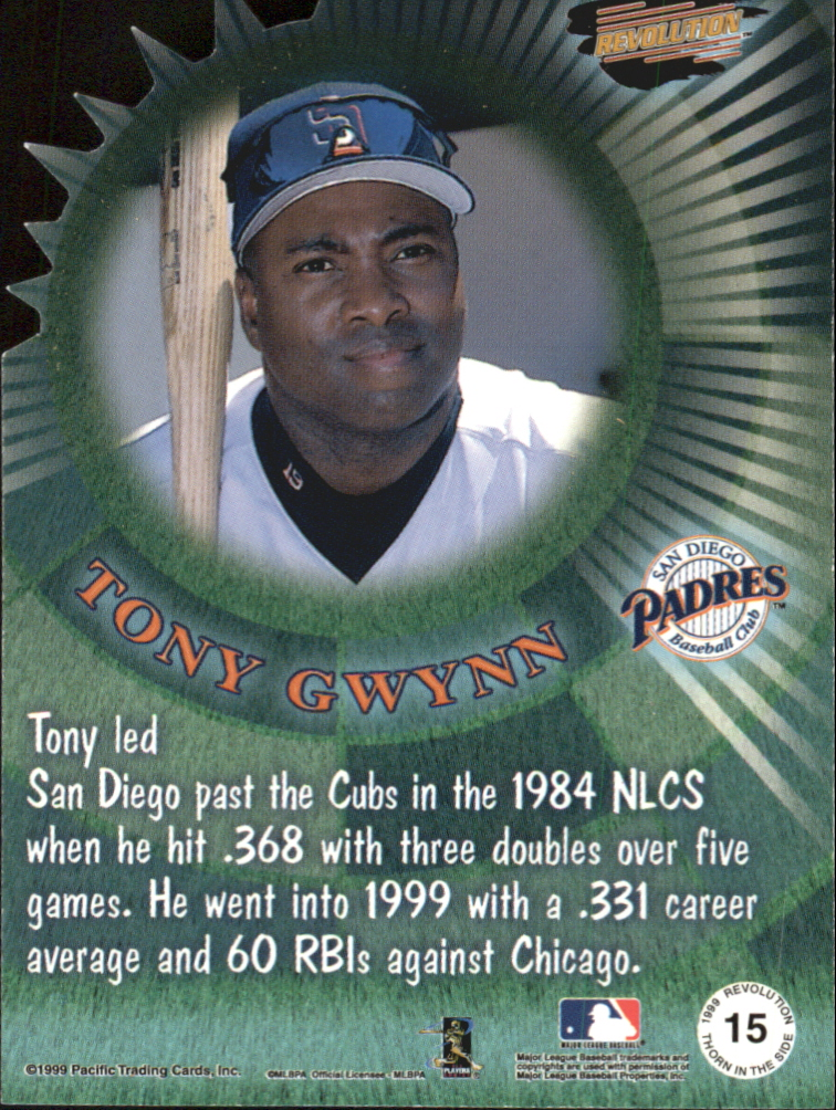 1999 Revolution Thorn in the Side #15 Tony Gwynn back image