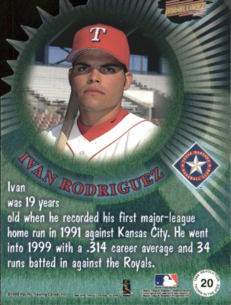 1999 Revolution Thorn in the Side #20 Ivan Rodriguez back image