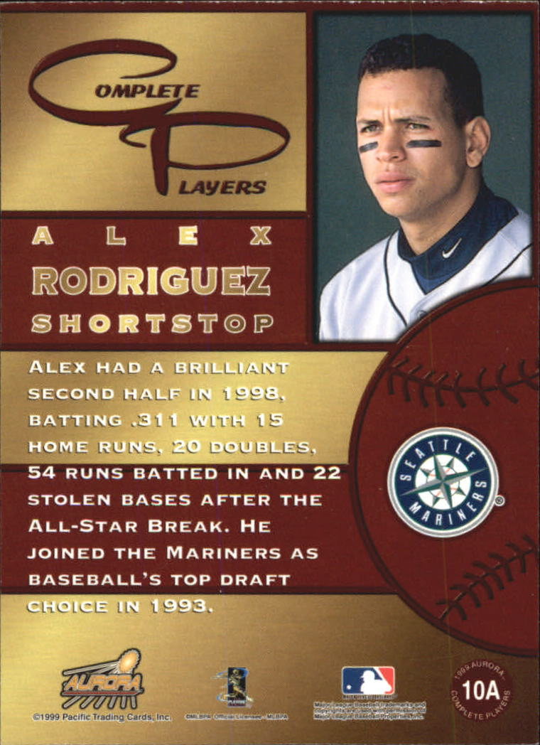1999 Aurora Complete Players #10A Alex Rodriguez back image