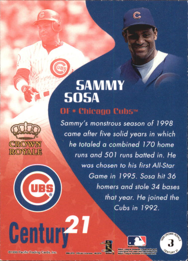 1999 Crown Royale Century 21 #3 Sammy Sosa back image