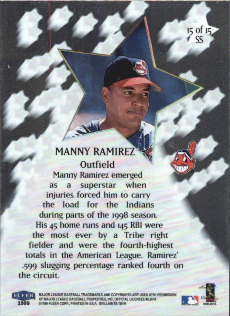 1999 Fleer Brilliants Shining Stars #15 Manny Ramirez back image
