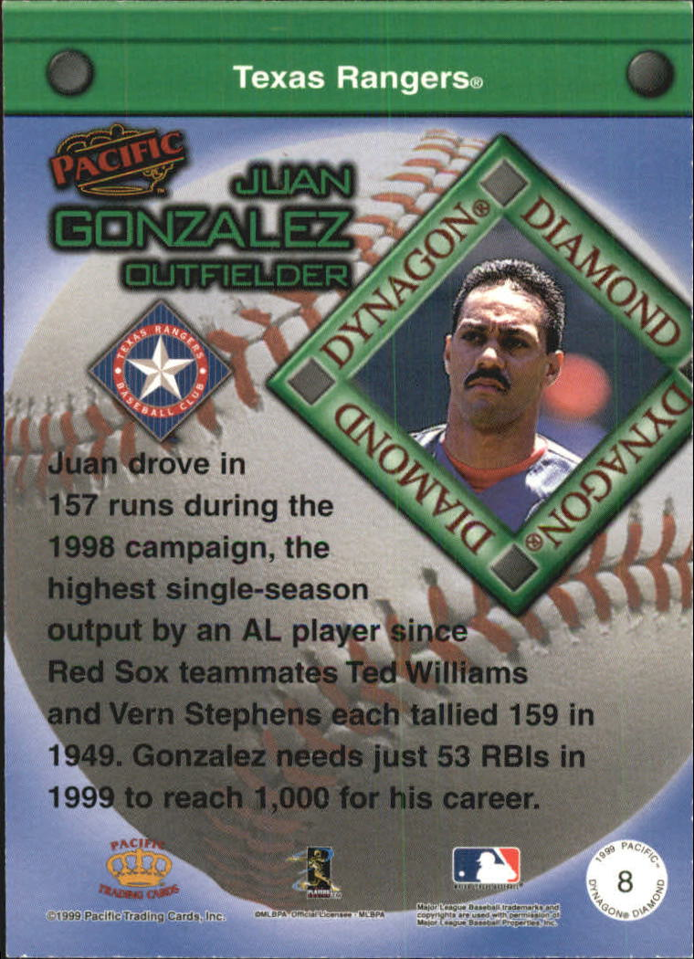 1999 Pacific Dynagon Diamond #8 Juan Gonzalez