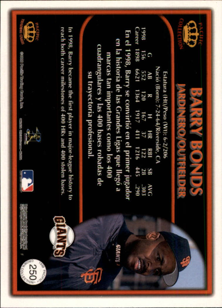1999 Pacific Crown Collection Platinum Blue #250 Barry Bonds