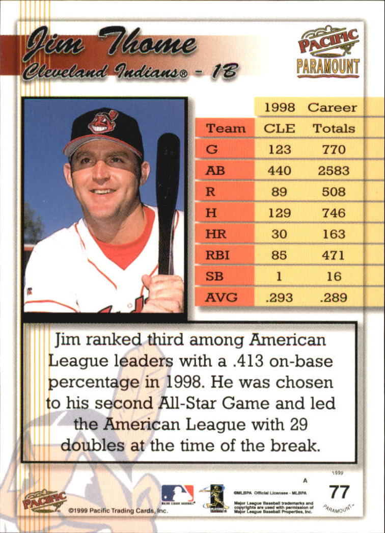 1999 Paramount Copper #77 Jim Thome back image