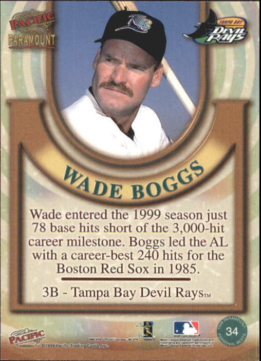 1999 Paramount Personal Bests #34 Wade Boggs back image