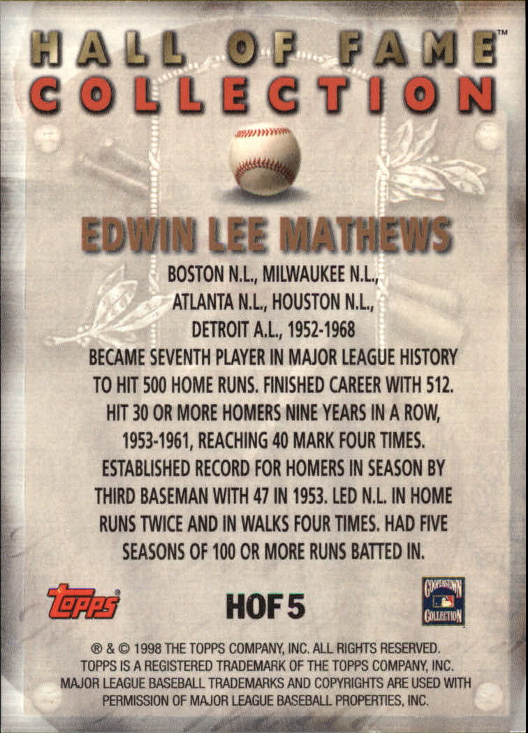 1999 Topps Hall of Fame Collection #HOF5 Eddie Mathews back image