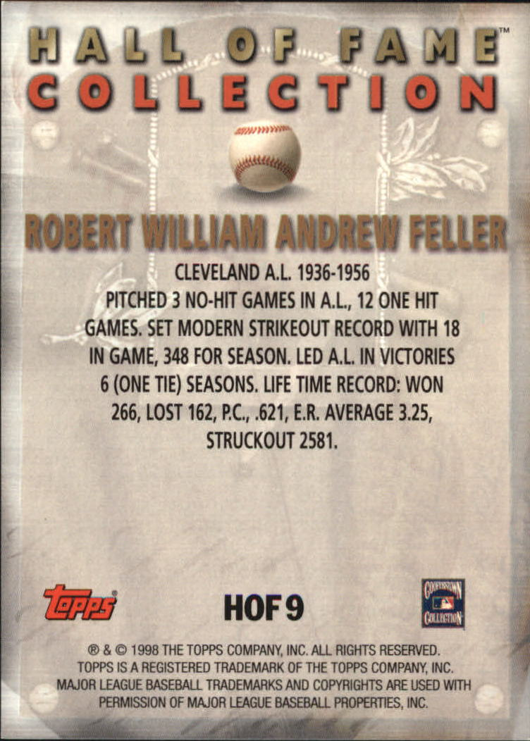1999 Topps Hall of Fame Collection #HOF9 Bob Feller back image
